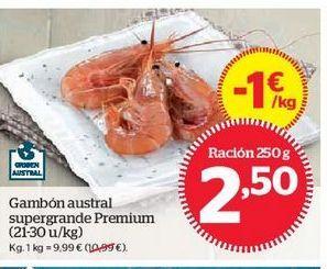 Oferta de Gambón austral supergrande Premium (21-30 u/kg) por 2,5€