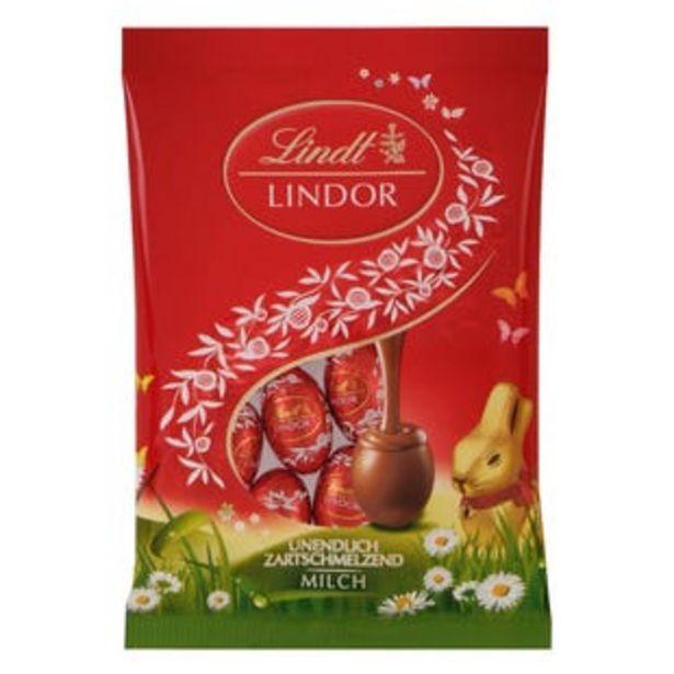 Oferta de Lindor mini huevos chocolate con leche bolsa 100g por 1,19€