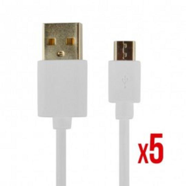 Oferta de CABLE POWER2GO USB-A A MICRO-USB 1m BLANCO PACK 5 por 20,5€