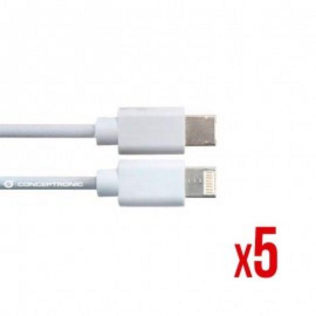 Oferta de CABLE POWER2GO USB-A A USB-C 3.0 1m BLANCO PACK 5 por 35,5€