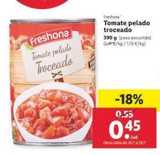Oferta de Tomate pelado troceado Freshona por 0,45€