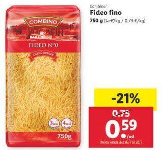 Oferta de Fideo fino Combino por 0,59€