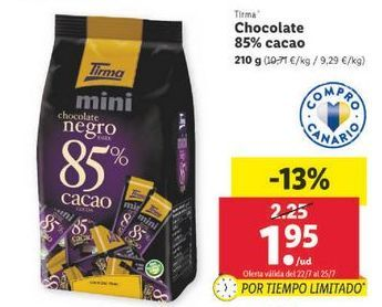 Oferta de Chocolate 85% cacao Tirma por 1,95€