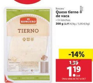 Oferta de Queso tierno de vaca Roncero por 1,19€