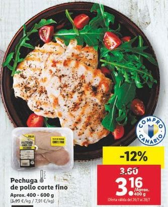Oferta de Pechuga de pollo corte fino por 3,16€