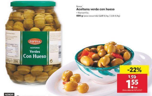 Oferta de Aceituna verde con hueso Bresa por 1,55€