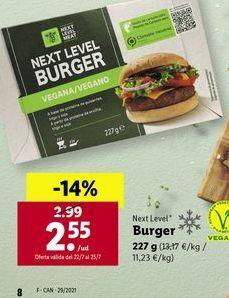 Oferta de Burger Next Level por 2,55€