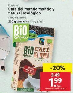 Oferta de Café del mundo molido y natural ecológico Fairglobe por 1,99€