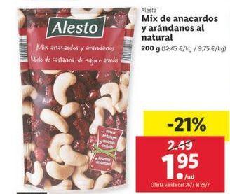 Oferta de Mix de anacardos y arándanos al natural Alesto por 1,95€