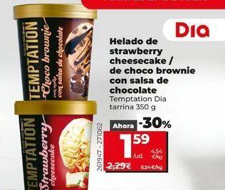 Oferta de Helado de strawberry cheesecake/de choco brownie con salsa de chocolate Temptation Día tarrina 350 g por 1,59€