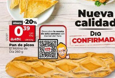 Oferta de Pan de picos El Molino de Día 260 g por 0,39€