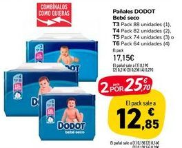Oferta de Pañales Dodot Bebe seco T3 Pack 88 unidades (1), T4 Pack 82 unidades (2), T5 Pack 74 unidades (3) o T6 Pack 64 unidades (4) por 17,15€