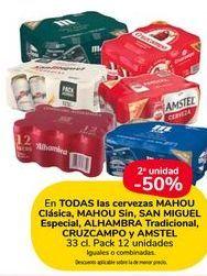 Oferta de En TODAS las cervezas MAHOU Clasica, MAHOU Sin, SAN MIGUEL Especial, ALHAMBRA Tradicional, CRUZCAMPO y AMSTEL por