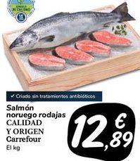 Oferta de Salmón noruego rodajas CALIDAD Y ORIGEN Carrefour por 12,89€