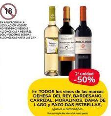 Oferta de En TODOS los vinos de las marcas DEHESA DEL REY, BARDESANO, CARRIZAL, MORALINOS, DAMA DE LAGO y PAZO DAS ESTRELLAS, iguales o combinados por