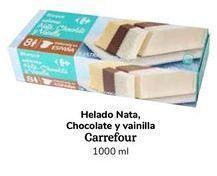 Oferta de Helados Nata, Chocolate y Vainilla Carrefour 1000 ml por 0,99€