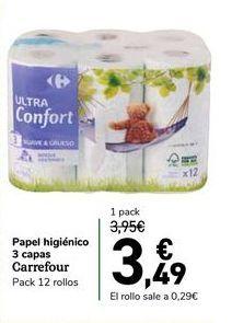 Oferta de Papel higiénico 3 capas carrefour, pack de 12 rollos por 3,95€