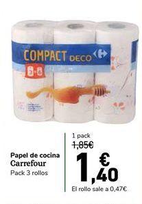 Oferta de Papel de cocina carrefour, pack 3 rollos. por 1,4€