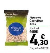 Oferta de Pistachos carrefour 400 g por 4,3€