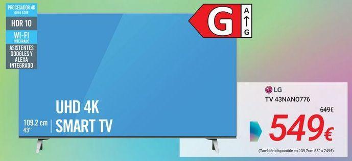Oferta de LG TV 43NANO776 por 549€