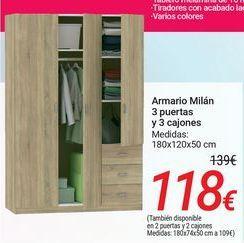 Oferta de Armario Milán 3 puertas y 3 cajones por 118€
