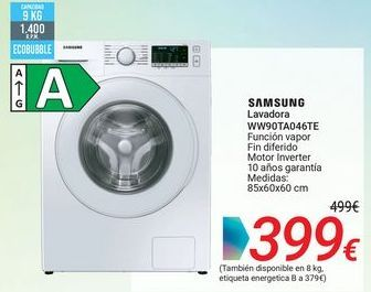 Oferta de SAMSUNG Lavadora WW90TA046TE por 399€