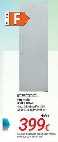 Oferta de ICECOOL Frigorífico ICRFL186W por 399€