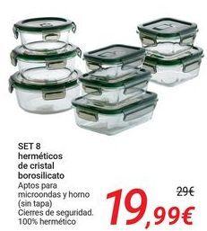 Oferta de SET 8 herméticos de cristal borosilicato por 19,99€