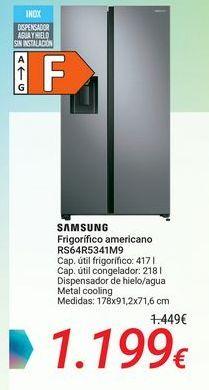 Oferta de SAMSUNG Frigorífico americano RS64R5341M9 por 1199€