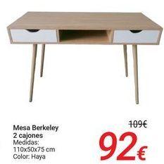Oferta de Mesa Berkeley 2 cajones por 92€