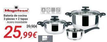 Oferta de Magefesa Batería de cocina 3 piezas + 2 tapas por 25,99€