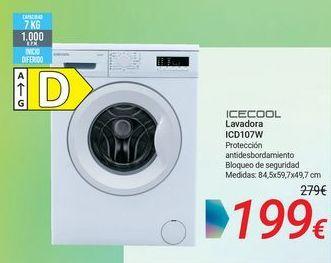 Oferta de ICECOOL Lavadora ICD107W por 199€