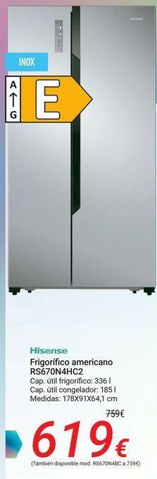 Oferta de Hisense Frigorífico americano RS670N4HC2 por 619€