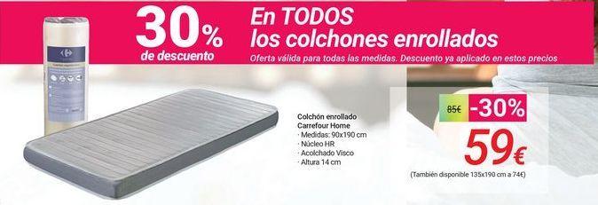 Oferta de Colchón enrollado Carrefour Home por 59€