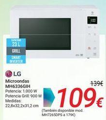 Oferta de LG Microondas MH6336GIH por 109€