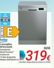 Oferta de Beko Lavavajillas DFN16420X por 319€