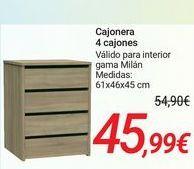 Oferta de Cajonera 4 cajones por 45,99€