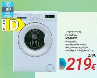 Oferta de ICECOOL Lavadora ICD107W por 219€