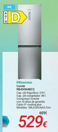 Oferta de Hisense Combi RB400N4BC3 por 529€