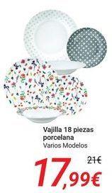 Oferta de Vajilla 18 piezas porcelana  por 17,99€