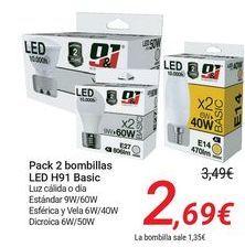Oferta de Pack 2 bombillas LED H91 Basic por 2,69€