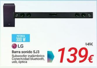 Oferta de LG Barra de sonido SJ3 por 139€