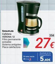 Oferta de TAURUS Cafetera VERONA 12 por 27€