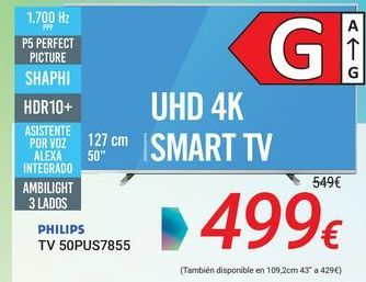 Oferta de PHILIPS TV 50PUS7855 por 499€