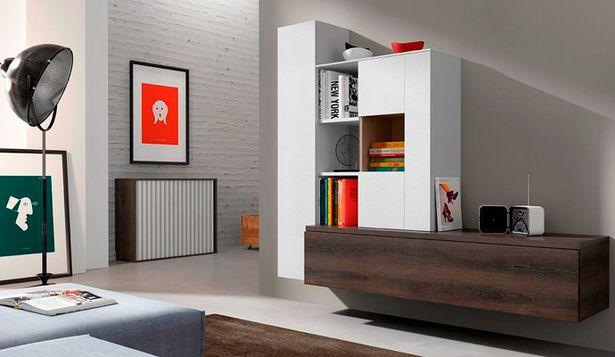 Oferta de Composición modular con acabados en nuez y blanco brillo por 899€
