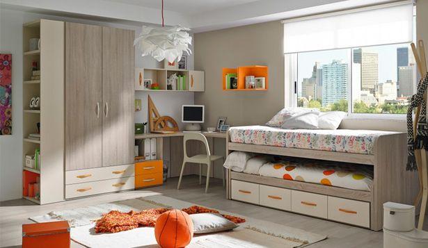 Oferta de Dormitorio juvenil con acabados en roble beige y naranja por 1495€