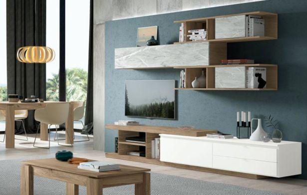 Oferta de Composición de salón apilable en roble, blanco poro y mármol blanco por 995€