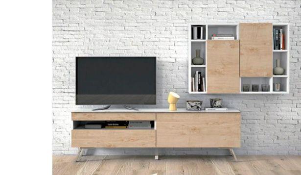 Oferta de Muebles de salón de estilo urbano con módulos altos en blanco y maple por 895€
