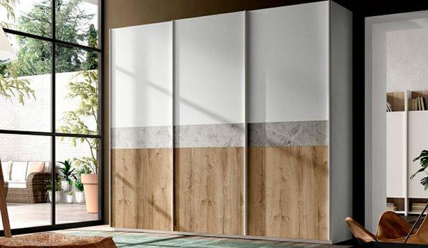 Oferta de Armario con puertas correderas en roble, gris y blanco por 1499€