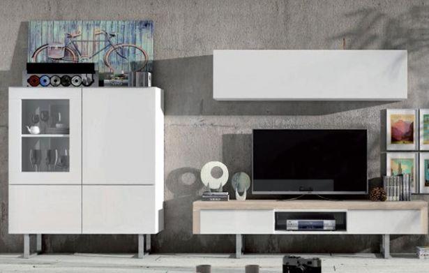 Oferta de Composición de salón con bodeguero en blanco brillo y nórdico por 990€